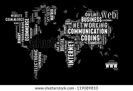 Digital technology info-text graphic and arrangement concept on black background (word cloud) - stock photo