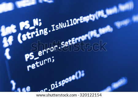 Digital technology modern background. Computer programming source code abstract screen of software developer. Shallow depth of field, selective focus effect. Code text written and created by myself - stock photo