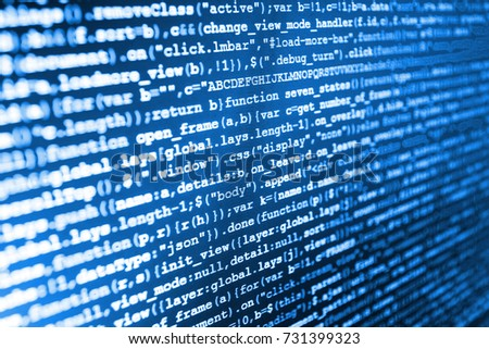 Digital technology on display. PHP syntax highlighted. Software source code. Coworkers team in modern office. Server logs analysis. Programmer occupation job. Binary digits code editing.