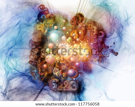 Digital Technology series. Creative arrangement of numbers, symbols and fractal elements as a concept metaphor on subject of science, information and modern technology - stock photo
