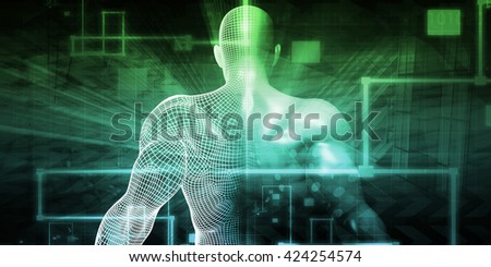 Digital Technology with Humanoid as a Futuristic Concept 3d Illustration Render - stock photo
