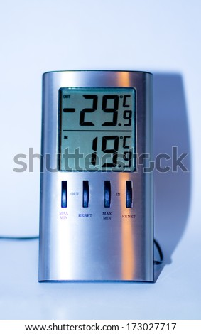 digital thermometer that shows inside and outside temperature a very cold day