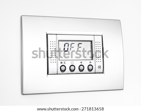 Digital thermostat isolated on white background, display Off message - stock photo