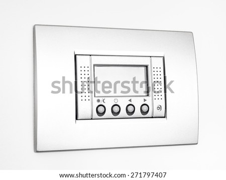 Digital thermostat isolated on white background, empty display