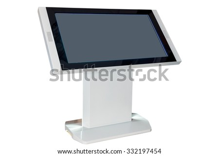 Digital touchscreen terminal, atm machine isolated on white - stock photo