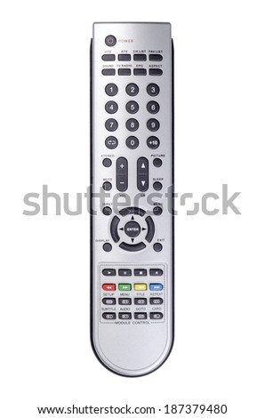 Digital TV and DVD remote control front view - stock photo