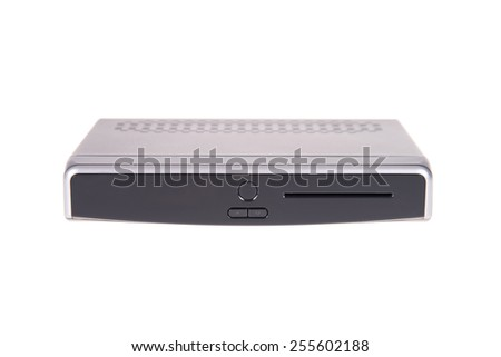 Digital TV box isolated on white background - stock photo