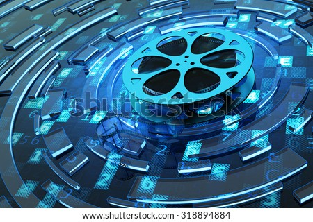 Digital video and multimedia concept, film reel on blue technology background with computer code and abstract circles - stock photo