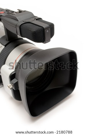 Digital Video Camera (Detail Top-Front View) - stock photo