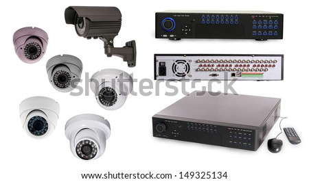 Digital Video Recorder end security camera isolated on white - stock photo