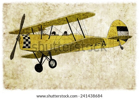 Digital vintage illustration of a yellow biplane  - stock photo