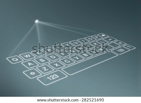Digital virtual keyboard on blue background. A projection keyboard is a form of computer input device whereby the image of a virtual keyboard is projected onto a surface. - stock photo