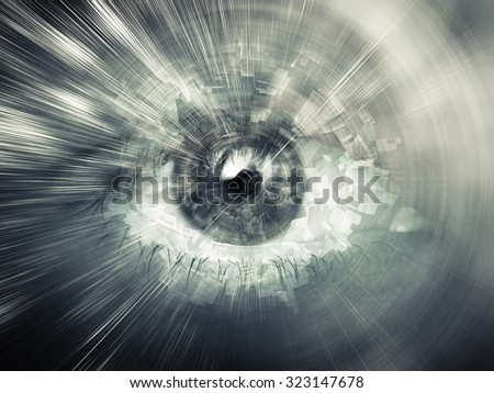 Digital vision concept, abstract illustration with chaotic structures mixed with human eye
