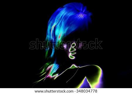 Digital Visualization of a female Face - stock photo