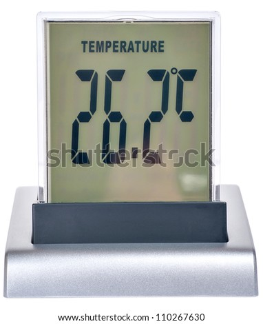 digital watch with the thermometer it is isolated on a white background - stock photo