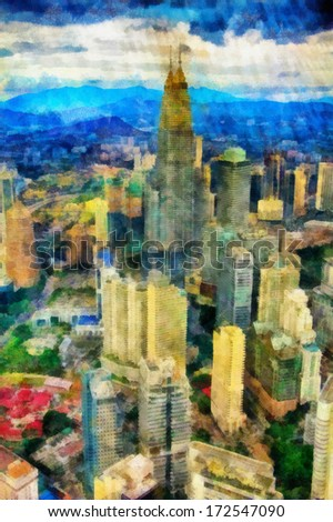 Digital watercolor background of picturesque cityscape in Singapore - stock photo