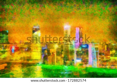 Digital watercolor background of picturesque night cityscape in Singapore - stock photo