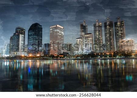 Digital watercolor. Benjakiti Park in Bangkok, Thailand - stock photo