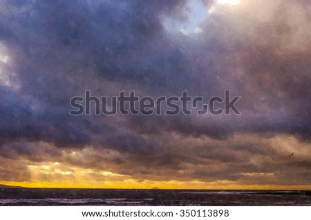 Digital watercolor from a photograph of a seascape of storm clouds, wintry showers, gale force winds and rolling waves at sunset, Ailsa Craig on the horizon, at Troon, Ayrshire coast, Scotland