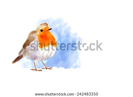 Digital watercolor illustration of a robin