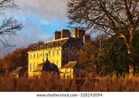 Digital watercolor painting from a photograph of Pollok House, Glasgow, Scotland,  built in 1752, designed by William Adam, ancestral home of Maxwell and Jardine families - stock photo