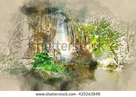 Digital watercolor painting of a beautiful waterfall. Plitvice Lakes National Park in Croatia  - stock photo