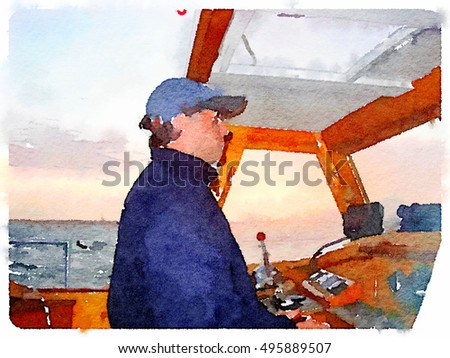 Digital watercolor painting of a man wearing sun glasses steering a yacht. With the horizon in the background and space for text.