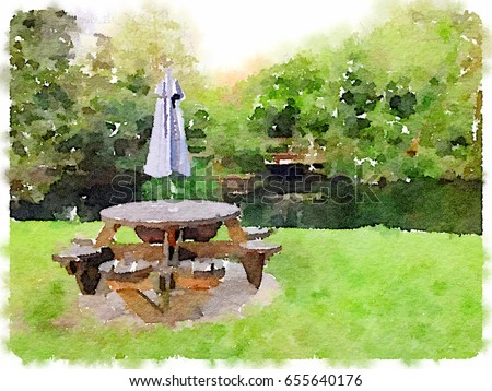 Digital Watercolor Painting Picnic Table Seats Stock Illustration - Picnic table parasol