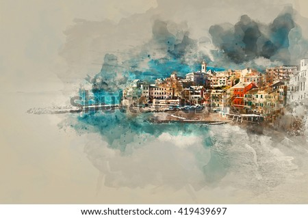 Digital watercolor painting of Bogliasco. Bogliasco is ancient fishing village in Italy. Province of Genoa