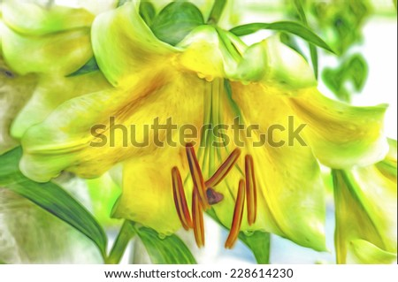Digital watercolor painting of easter lily close up - stock photo