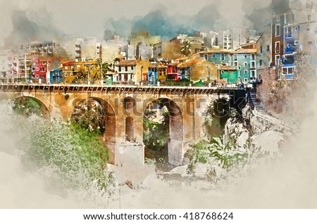 Digital watercolor painting of Villajoyosa / La Vila Joiosa town. Costa Blanca. Province of Alicante, Valencian Community, Spain - stock photo