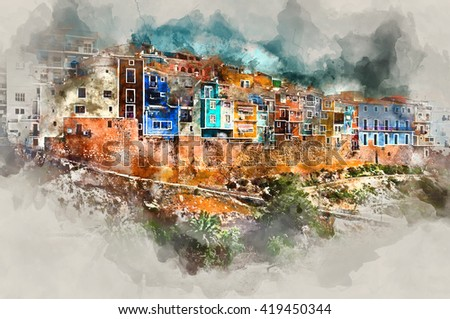 Digital watercolor painting of Villajoyosa town, Costa Blanca. Province of Alicante, Valencian Community, Spain - stock photo
