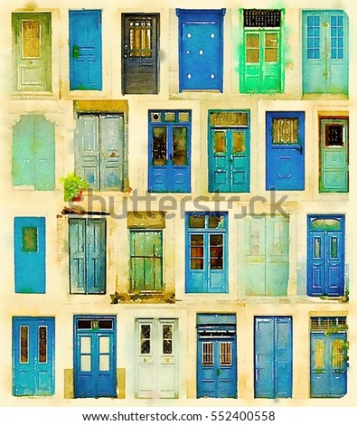 Digital watercolour of blue doors from Greece