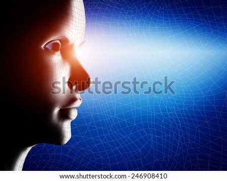 Digital, wireframe human profile face portrait on blue, technological background - stock photo