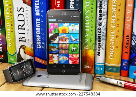 Digital wireless communication technology and internet web business and education concept: group of modern black touchscreen smartphones and smartwatch on wooden bookshelf with color hardcover books - stock photo