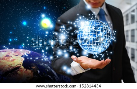Digital world and programmer : Elements of this image furnished by NASA  - stock photo