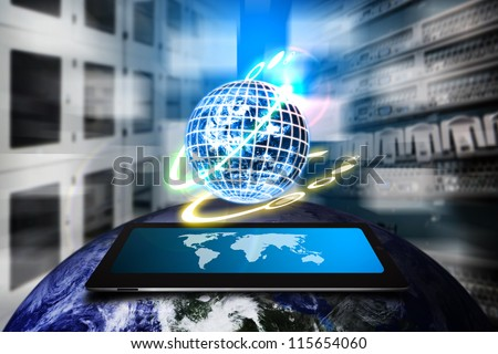 Digital world auto control the system : Elements of this image furnished by NASA - stock photo