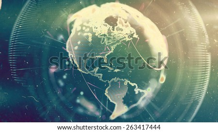 Digital World. Computer graphics made. Illustration of a technological world. Globe. - stock photo