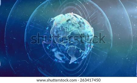 Digital World. Computer graphics made. Illustration of a technological world. Globe. - stock photo