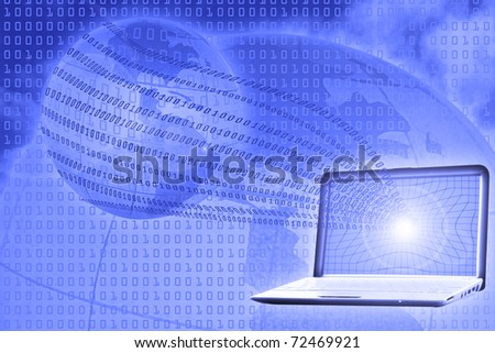 digital world concept: binary code floating from laptop to globe - stock photo