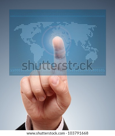 Digital world concept graphic, including digital map of the world - stock photo