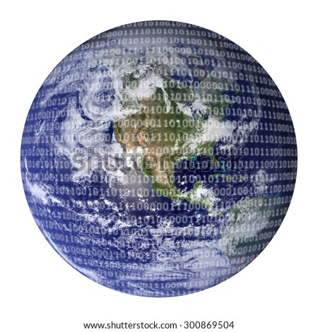 Digital World Earth overlaid with binary code representing a digital world. Global technology concepts. Blue Marble image courtesy of NASA Goddard Space Flight Center. http://earthobservatory.nasa.gov - stock photo