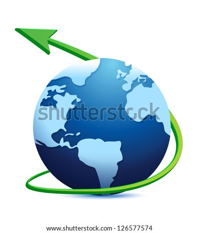 Digital world globe illustration design over a white background