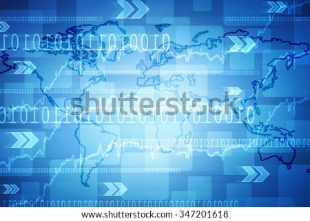 Digital world map , Globalization, Hi tech and synchronization