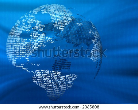Digital world on a blue background - stock photo