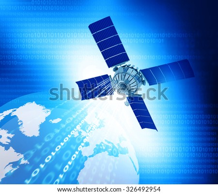 Digital world with Satellite networking	 - stock photo