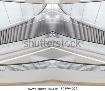 Digitally composed photo of hi-tech interior with louvered structure. Realistic though fictional modern architecture fragment featuring suspended ceiling and balconies.