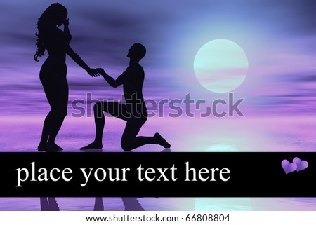 digitally created background design showing the silhouette of a man proposing a woman, integrated area for text - stock photo