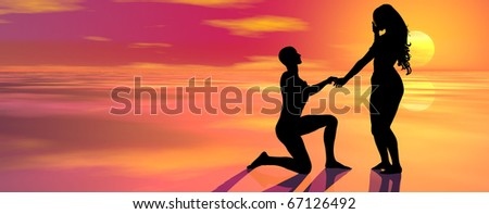 digitally created conceptual background showing the silhouette of a guy asking the hand of his lady - stock photo