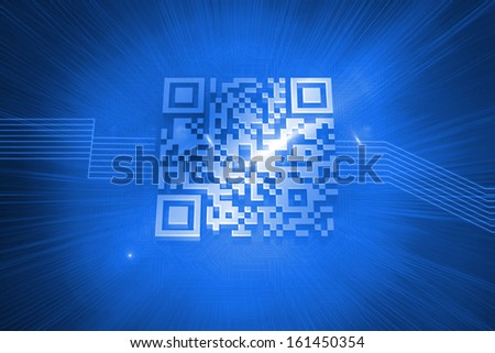 Digitally generated bar code on blue background